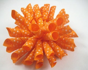 Orange Polka Dot Korker Hair Bow  -  Orange Hair Bow - Polka Dot Hair Bow - Orange Polka Dot - Korker Hair Clip - Hair Clip