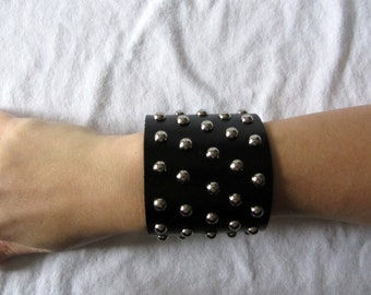 Black leather studded cuff bracelet - extra wide