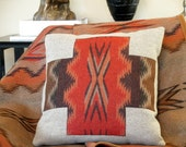 Pendleton wool pillow Chinle weave cross handmade original design applique, colors of the earth, tangerine, brown, tan, 18 x 18