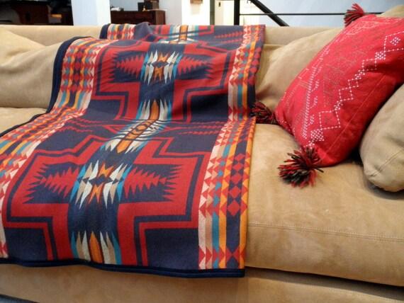 Pendleton Wool blanket,  Native American , REVERSIBLE NAVAJO BLANKET, Navy,  red, teal, 65 x 59