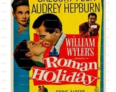 Roman Holiday Gregory Peck Audrey Hepburn 1953 Movie Poster Download Classic Movie Prints No 755