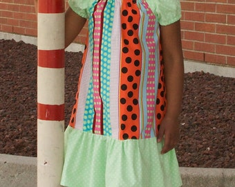 Last 1 Available, 4T, Girl Peasant Dress, Toddler Peasant Dress, Polka Dot Dress, Girls Dress, Little Girl Peasant Dress