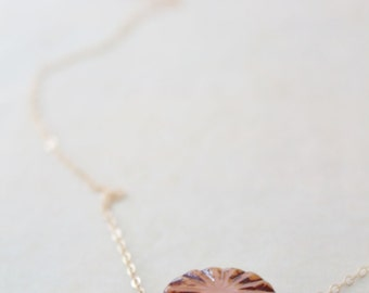 Minimalist glass choker - delicate 14k gold filled chain and scalloped czech glass necklace - modern by fildee