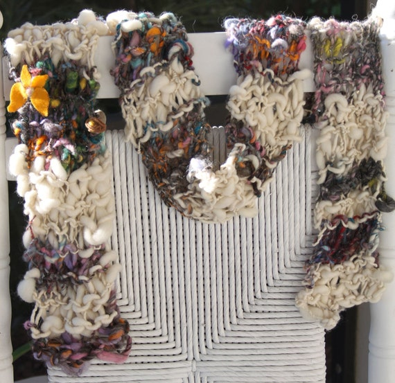 SALE Hand Knit Bulky Scarf, in Ivory, with Pink, Brown and multi colors plus felt flowers, Super Soft Handspun Hand Dyed Bulky Yarn