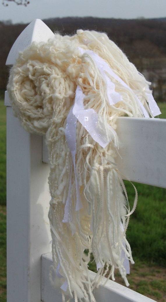 Hand Knit Shawl, Wedding Shawl or a great Present, Natural Ivory made of Rustic Hand Spun Wool