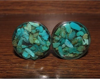 Turquoise Stone Plugs - 00g, 7/16, 1/2, 9/16, 5/8, 3/4, 7/8, 1 Inch