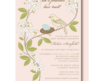 Vintage Bird Baby Shower Invitation, Bird Shower Invitations, Printed and Printable