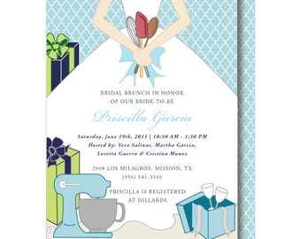 Stock the Kitchen Bridal Shower Invitation, Kitchen Shower Invitations, Recipe Shower Invite, Printable or Printed