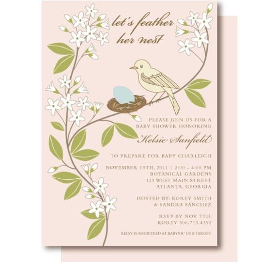 Vintage Bird Baby Shower Invitation, Bird Shower Invitations, Printed and Printable