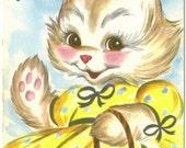 Vintage Gibson Greeting Card, UNUSED, Happy Birthday Aunt, Bunny Rabbit with Flower Basket