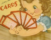 Vintage Get Well Card, It's In The Cards, Card-Playing Little Girl