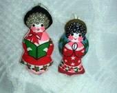 Vintage Christmas Tree Ornament Set  Caroler Angel Red Green Pink White Vintage Decor Handmade