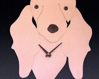 Dachshund Dog Art - Long Haired Dachshund Clock - by Anita Edwards