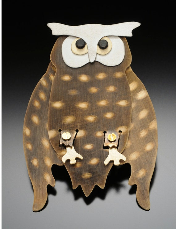 Owl Jewelry - Great Horned Owl Pin - by Anita Edwards