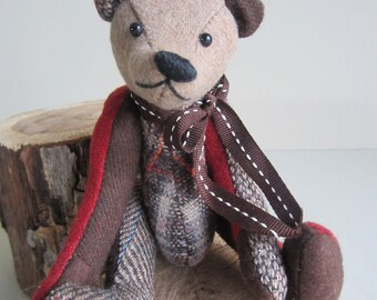 Teddy Bear Brown, Rust, & Tan Wool plaid Tom Thumbear 7""