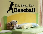 wall decal kids Eat sleep play Baseball decal kids decor nursery decal sport decal boy decal home decor decal for men wall decal living room