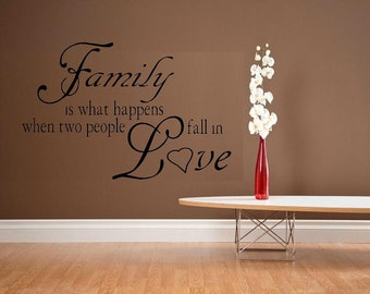 wall decals living room quote Family is what happens when two people fall in Love