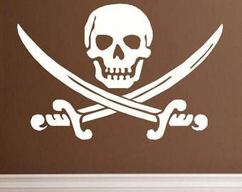 Jolly Roger pirate flag wall decal WD skull swords skull man cave home decor skull decal home bar decal pirate decal decal living room den