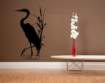 wall decal Blue heron crane decor nature animal beach decal summer decal living room decal bedroom decal outdoors wildlife vinyl decal decor