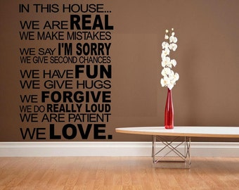 House rules decal In this house We do Love WD house rules living room decal decor