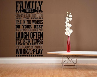 vinyl wall decal quote Family rules house rules subway art