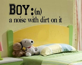 Boy definition a noise with dirt on it wall decal WD children wall definition decal quote