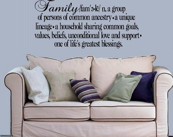 wall decal - Family definition greatest blessings - quote