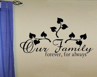 vinyl wall decal quote Our family forever for always tree photo accent decal