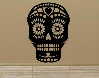 Wall Decal Sugar Skull Mexican Day Of Dead Decal Home Decor Sugar Skull Decal Skull Decal