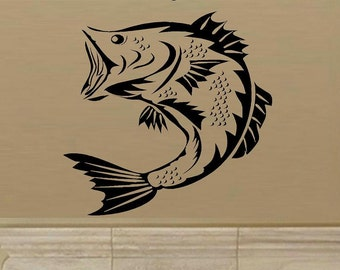 wall decal Large mouth Bass fish man cave decal for men decal boys sport decal fishing den decal decal living room outdoors vinyl decal