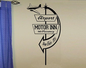Retro vintage sign Airport motor inn wall decal WD