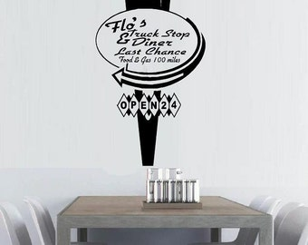 vinyl wall decal Retro vintage sign Flo's truck stop and diner