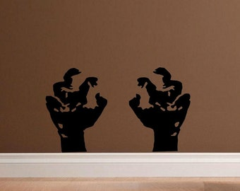 Zombie hands walking dead wall decal man cave living dead undead decal for men decal living room horror decor home decor haloween decor