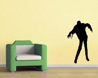 walking dead Zombie silhouette D2 wall decal man cave living dead undead decal men decal living room horror decor home decor haloween decor