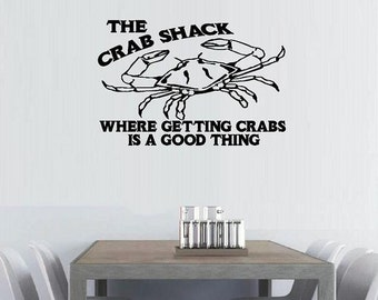 vinyl wall decal Beach summer decor The crab shack where getting crabs is a good thing