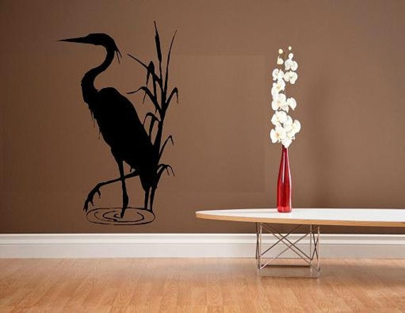 wall decal blue heron crane decor nature animal beach decal. Black Bedroom Furniture Sets. Home Design Ideas