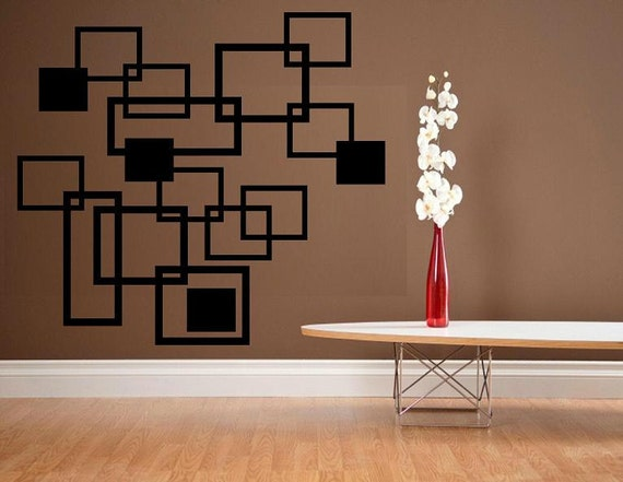 Squares geometric decor urban style wall decal living room decal bedroom decal home decor modern decor modern decal urban design decor vinyl
