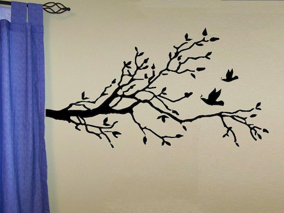 tree and bird wall decal Birds with Tree decal Branch style 1 distressed living room decal bedroom decal home decor vinyl decal nature