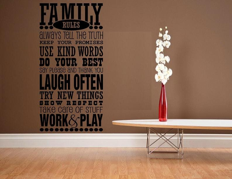 Vinyl Wall Decal Quote Family Rules House Rules Subway Art - House rules wall decals