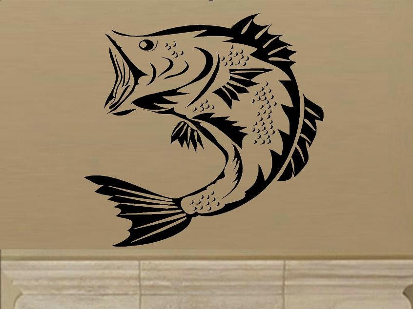 Wall decal large mouth bass fish man cave decal for men decal for Fishing vinyl decals