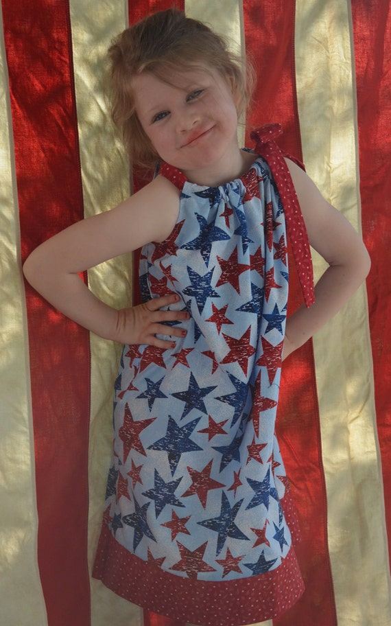 Patriotic, July 4th Dress. with Ponytail streamers or Hair Bow