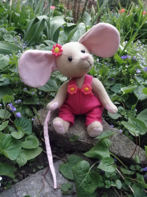 Candi the Mouse - Bright pink and tan, soft sculpture mouse