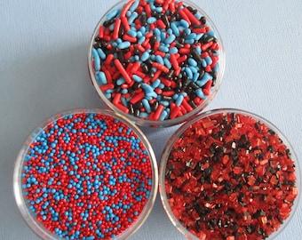 4oz Red, Blue & Black Train Sprinkle Kit