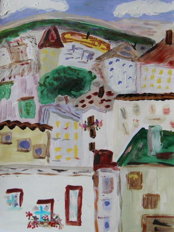 Painting A Crowd of Beauty Original Buildings landscape  Mary Carol Williams MCW art Primitive Folk Outsider