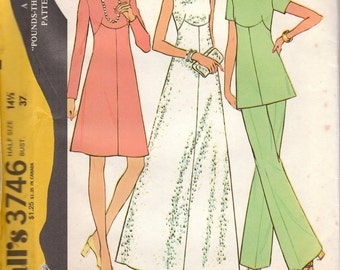 1970s Dress or Tunic and Pants Pattern McCalls 3745 Size 12 Uncut