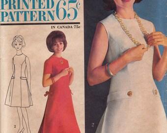 1960s Vintage A-line Dress Pattern Simplicity 4944 Size 12 Uncut