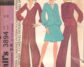 1970s Vintage Suit Pattern McCalls 3894 Size 12 Uncut