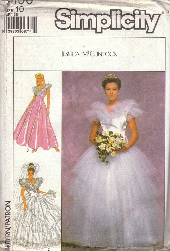 Princess Dress Jessica McClintock Wedding Gown Pattern Simplicity 9100 Size 10 Uncut