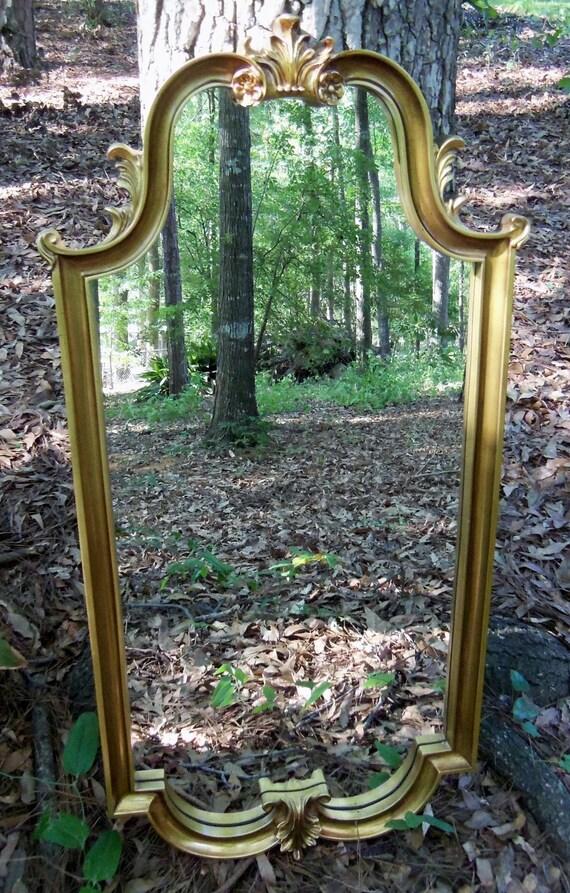 Hollywood Regency Mirror Gold Ornate Large Mid Century