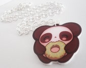 SALE - Lill Panda and his Doughnut - Tomo Acrylic Kawaii Panda Necklace Charm